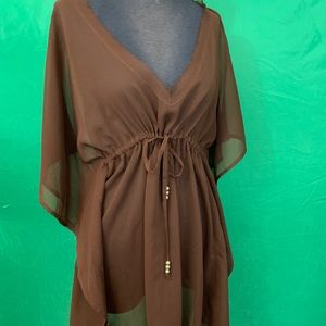 New with tags chocolate brown beach cover-up.